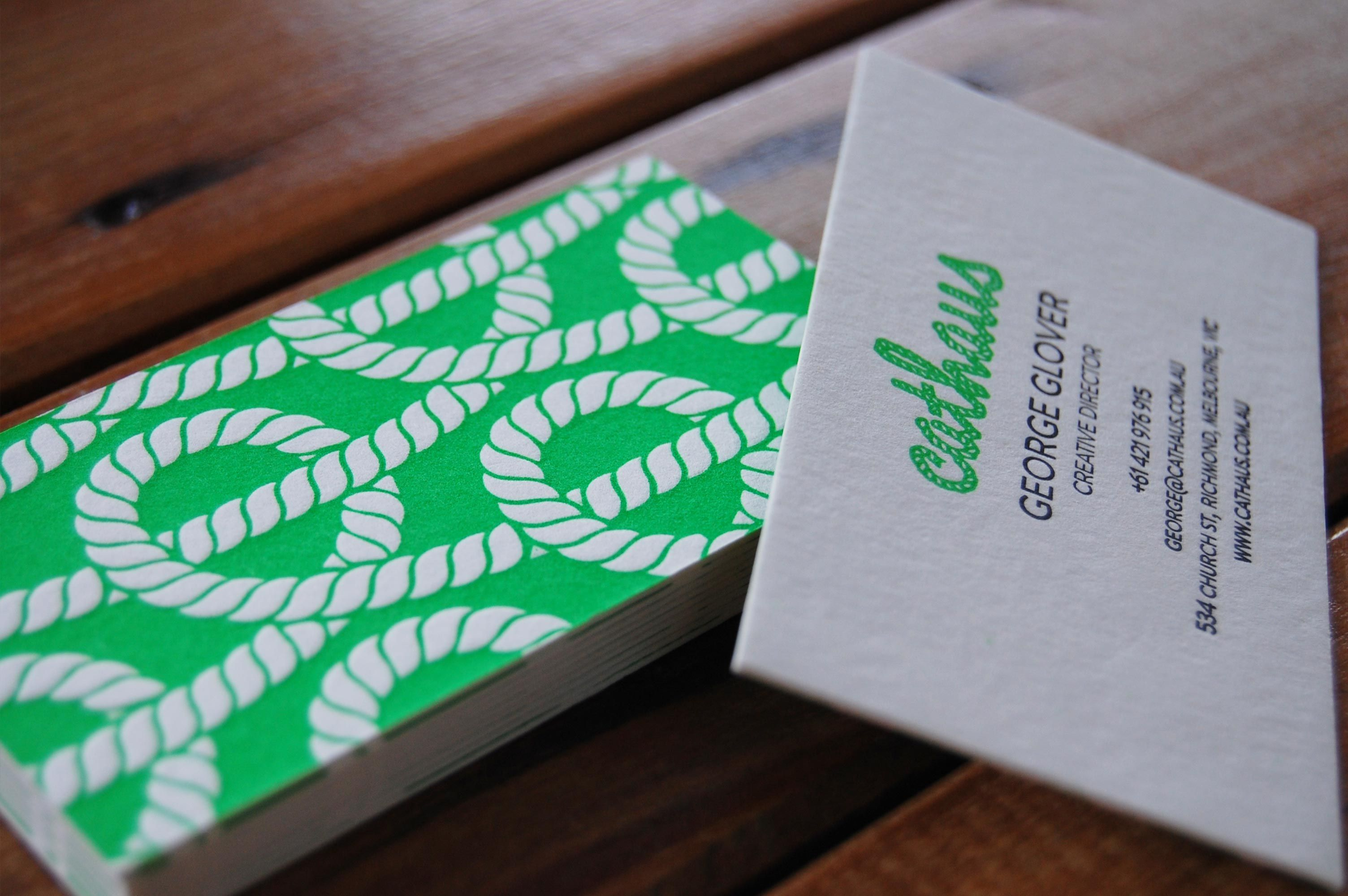 Cathaus neon green letterpress designed by cathaus creative business cards cathaus neon green letterpress designed by cathaus creative printed by little peach reheart Image collections