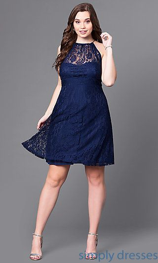 Empire-Waist Plus-Size Short Navy Party Dress in Lace ...
