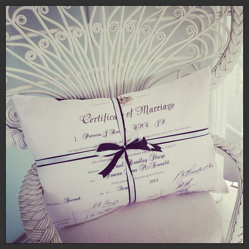 Marriage Certificate Cushion Anniversary Gift Decorating