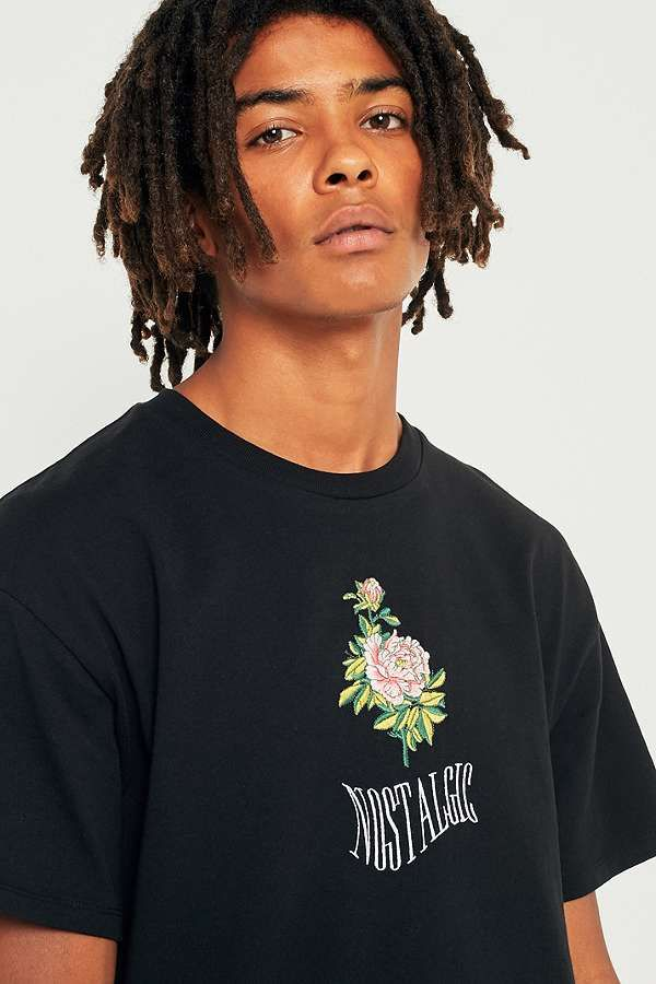 50c07652d63e UO Nostalgic Rose Black Embroidered T-shirt