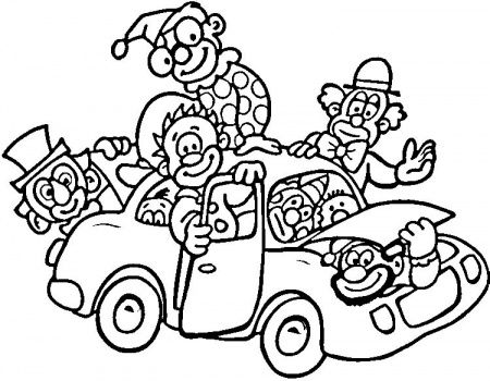 Circus Clown On Car Coloring Page