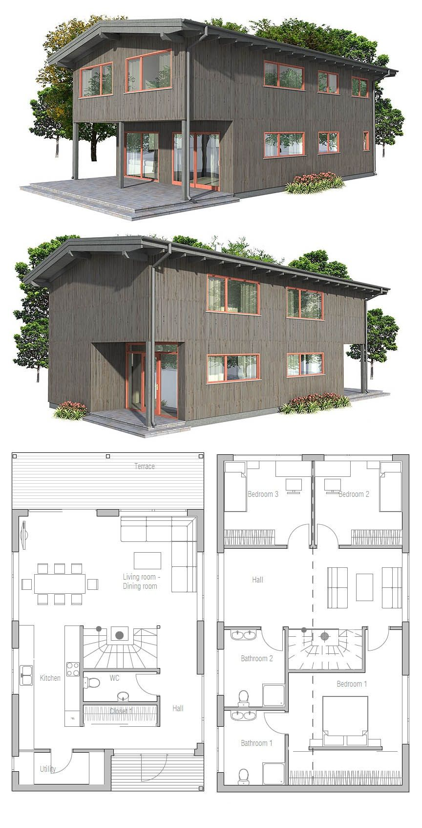 Plan de maison dream homes en 2018 pinterest for Casa minimalista economica