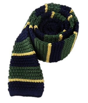 Knitted Accent Stripe - Green/Navy/Gold