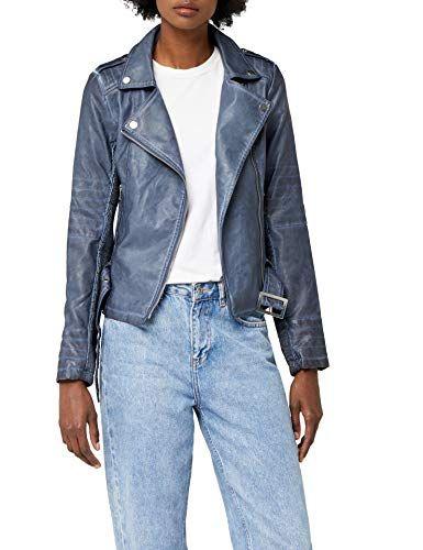Veste en jean manche simili cuir
