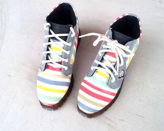 4491d36e588d7 women shoes rainbow stripes ankle boots handmade canvas Rangkayo ...