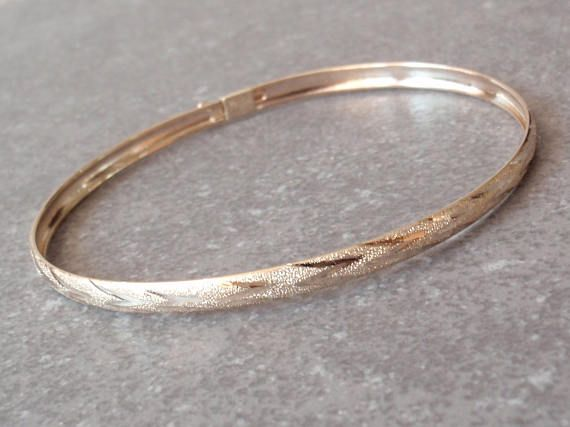 10k Gold Bangle Bracelet Flexible Diamond Cut Vintage 010116bkh