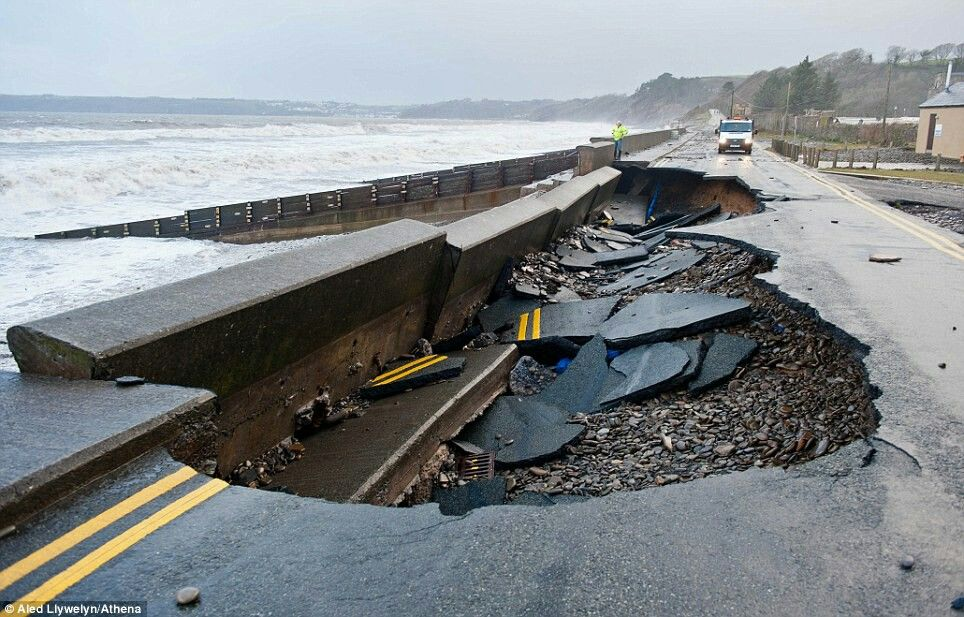 The road in Amroth, west Wales disintegrated under of the force of the sea driven by high tides and strong winds  +91 The road in Amroth, west Wales disintegrated under of the force of the sea driven by high tides and strong winds.