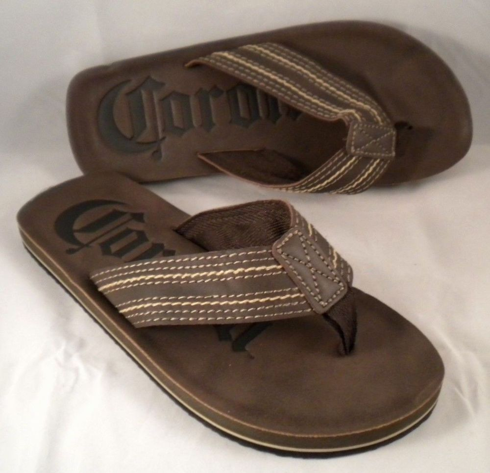 aab4c65fc62 Corona Mens Beer Drink Brown Sandals Flip Flops Size Medium 9 Beach Summer   Modelo  FlipFlops