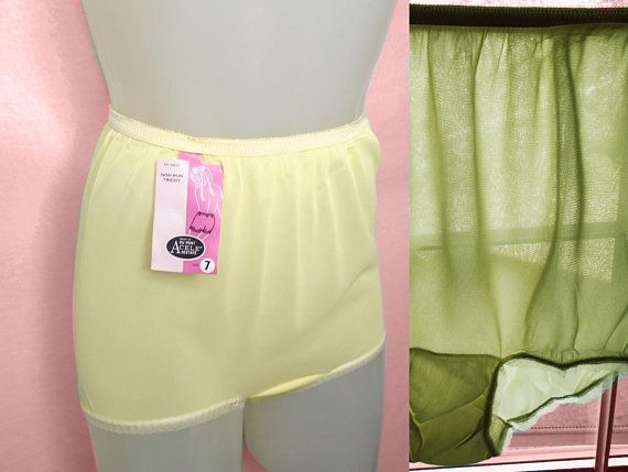 4e9dc922bf28 Vintage Sissy Panties, 60s Nylon Panties, Yellow See Through Sheer Full Cut  with Lace, Double Nylon