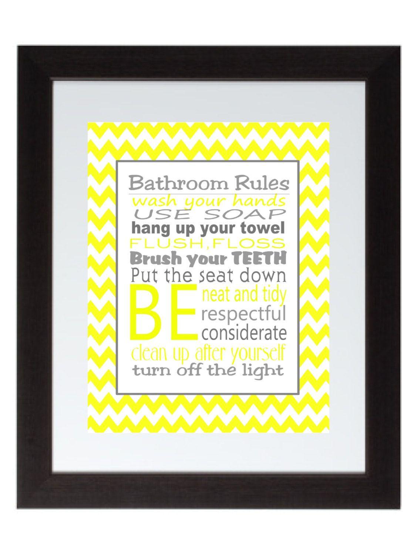 Gray and Yellow Chevron Bathroom Rules Wall Art Poster 8x10 Digital ...