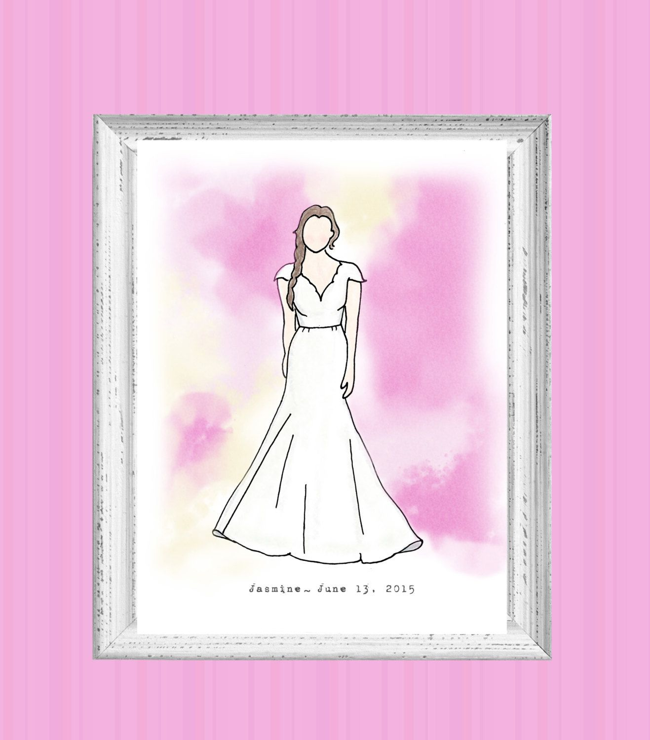 Personalized bridal gown sketch custom wedding by edandedith 赤脚