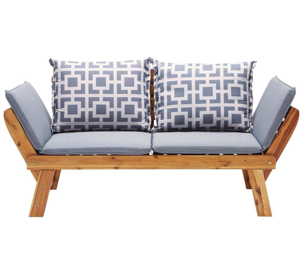 Gartenbank Akazie Akaziefarben Grau Design Holz Textil 190 75 67cm Ambia Garden Gartenbank Gartenmobel Holz Mobelideen