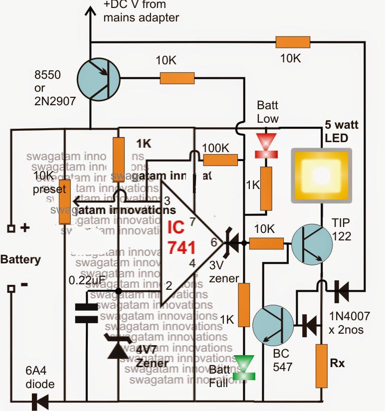 Emergency Lamp Using Ic 555 Amp Circuit Diagram
