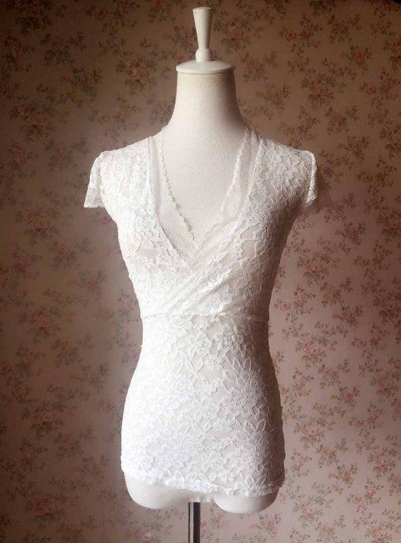 Unique Ivory lace Top black Lace Top. wedding by Dressromantic