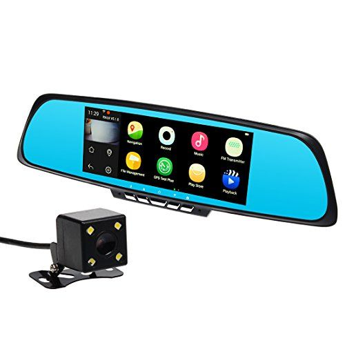 "TOGUARD 7/"" Mirror Dash Cam 1080P Dual Car DVR Recorder Rearview Backup Camera"
