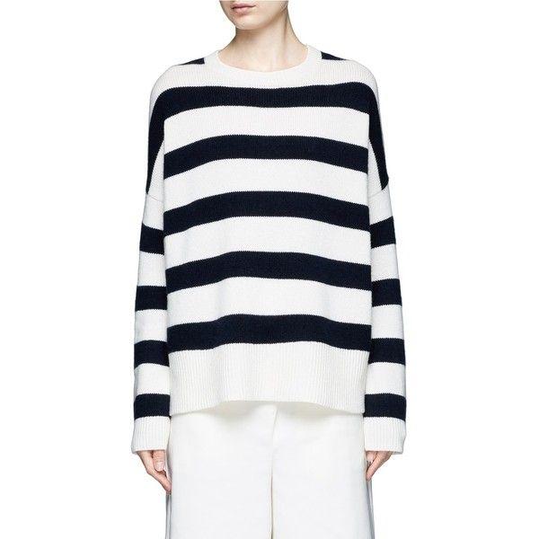 Theory 'Karenia St' stripe cashmere sweater ($445) ❤ liked on ...