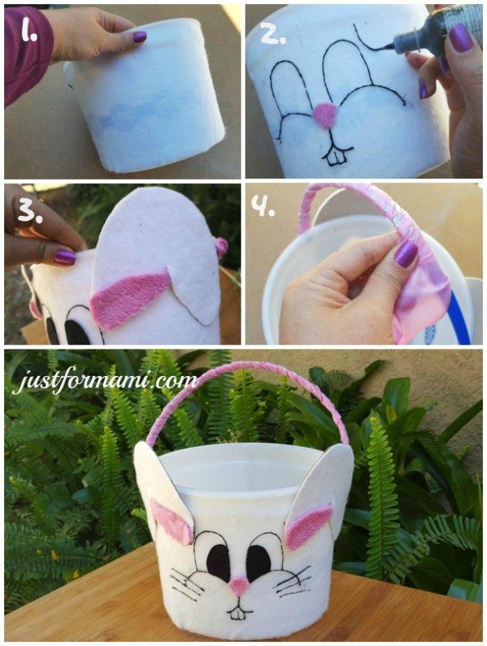 Esta canasta de pascua en forma de conejo est hecha for Decoracion de pascua