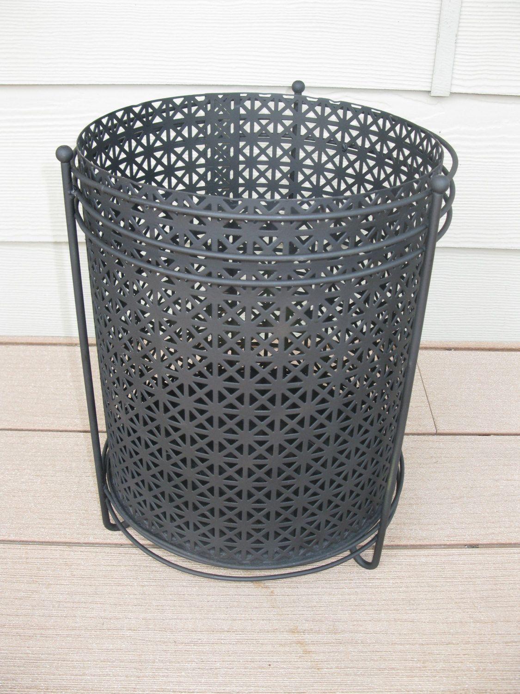 Mid century metal mesh waste basket -trash can -planter -black with black legs- retro office -1950s / 60s - retro waste basket - atomic by oakiesclaptrap on Etsy