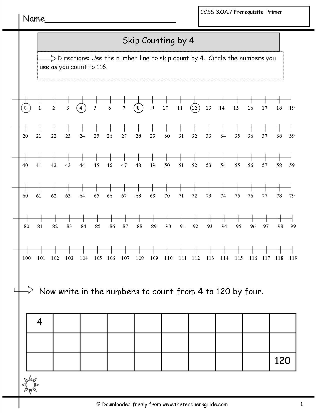 Skipcountingnumberlinebyfour Jpg 1275 1650 Skip Counting Worksheets Counting Worksheets Kids Math Worksheets