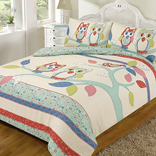 Just Contempo Double Polyester Girls Shabby Chic Owls Print Duvet Cover - Childrens Bedding Set - Pretty & Cute, Teal Blue Red Cream Lime Green Just Contempo http://www.amazon.co.uk/dp/B017SUA16M/ref=cm_sw_r_pi_dp_A6d.wb0BMD9K9