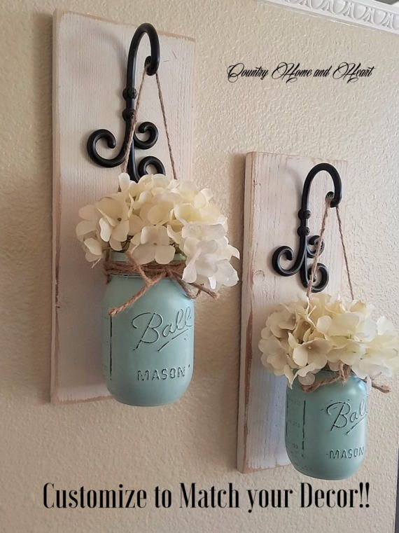 Photo of Set of 2 Mason Jar Sconces, Mason Jar Wall Decor, Country Decor, Hanging Mason Jar Sconce, Mason Jar Decor, Wall Sconce, Farmhouse Decor