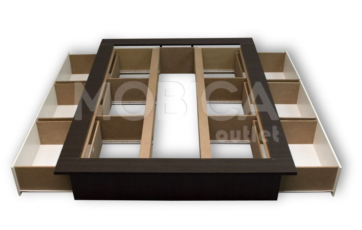 Box sommier cama 2x2 king size con cajones y baulera 14886 for Base para cama king size medidas