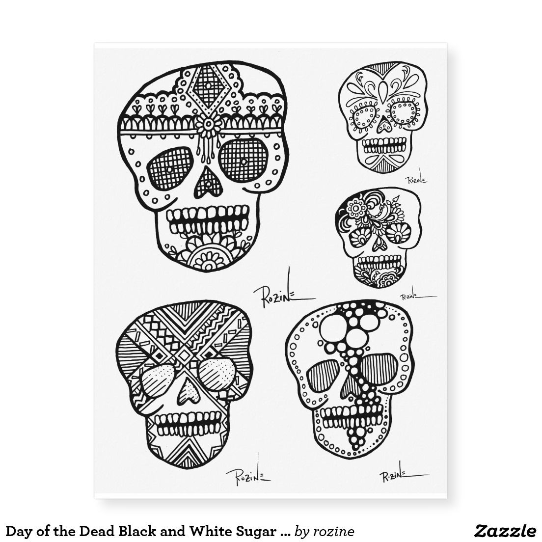 5f3221723 Day of the Dead Black and White Sugar Skull Tattoo Temporary Tattoos
