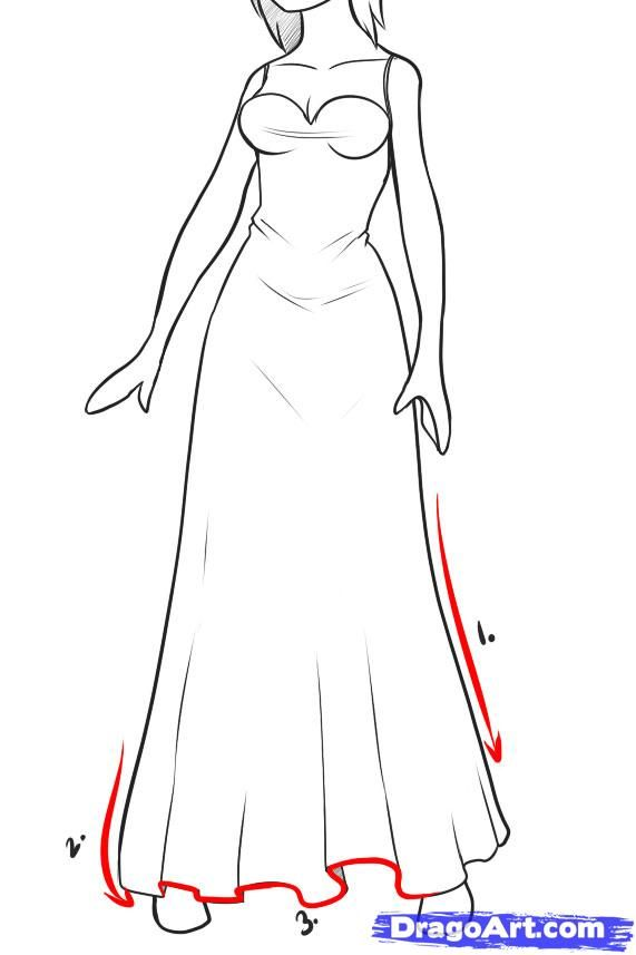 How To Draw Dresses Step 1