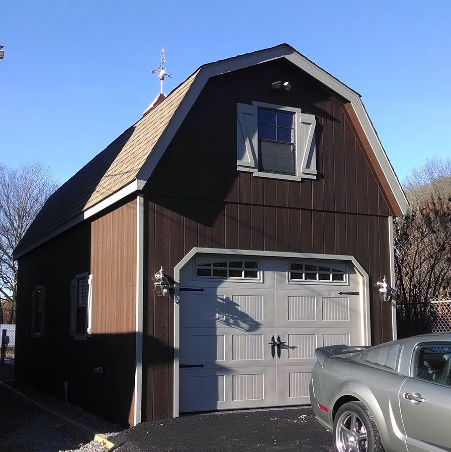 Car Garage Loft Retro Style: 14x30 1-car Prefab Garage. Upgrading To The Gambrel-style