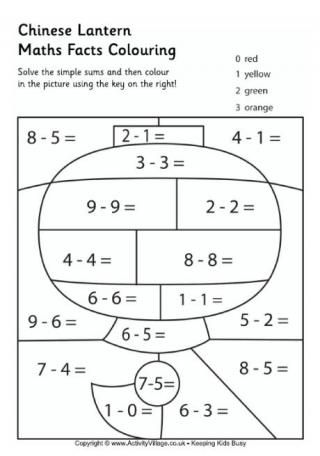 chinese lantern maths facts colouring page - Coloring Pages Addition Facts