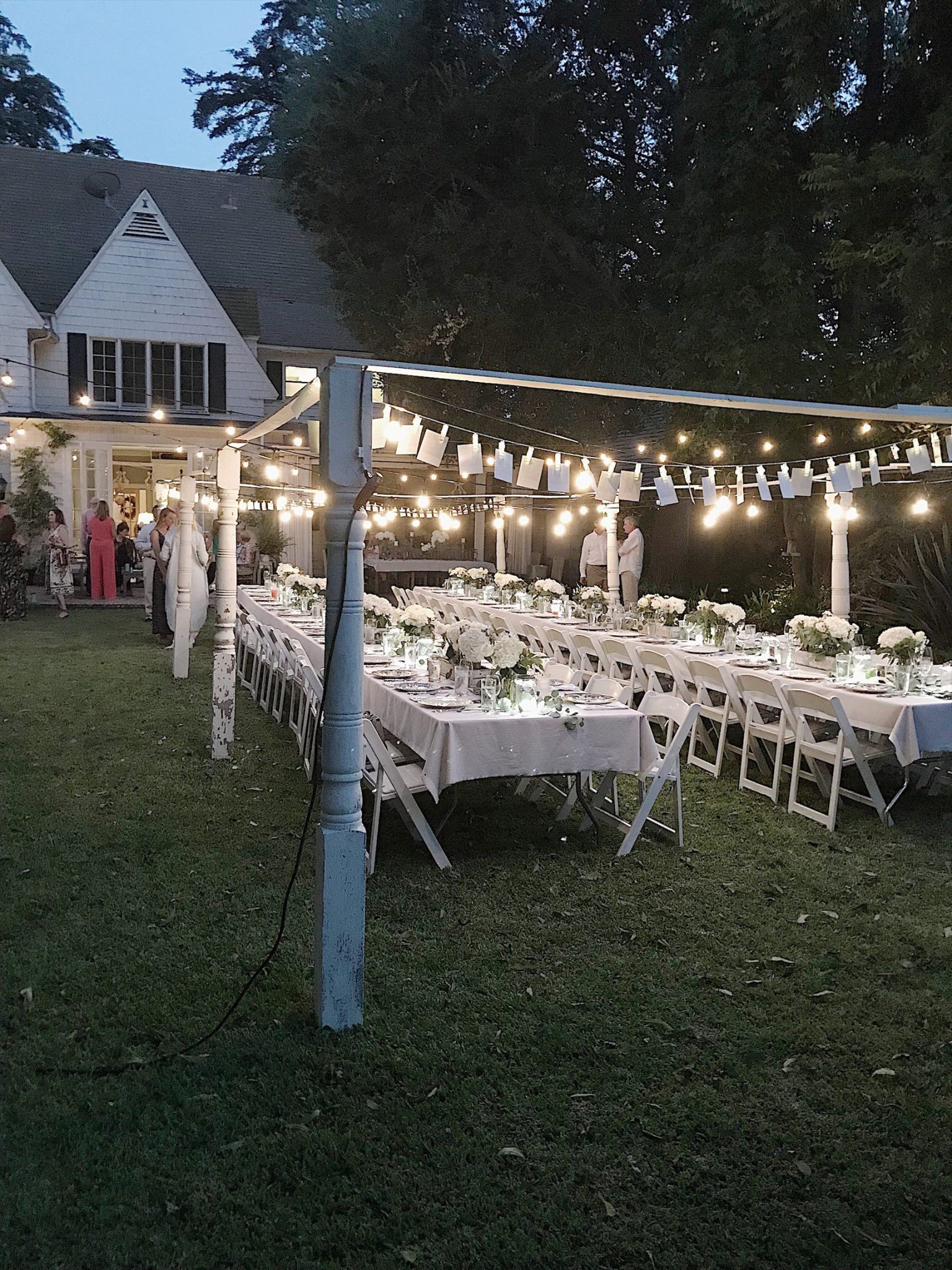 Adding Decor To The Outdoor Dining Room Summer Outdoor Party Outdoor Party Decorations Backyard Engagement Parties