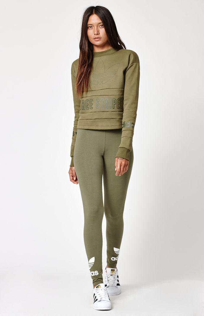 f663ab8d672 Adidas Olive Green Leggings   Bottoms in 2019   Green leggings ...