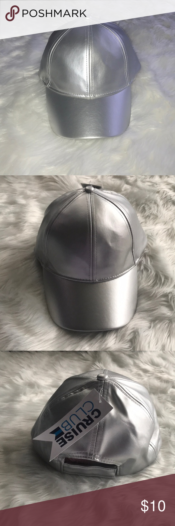 333df1aec8746 Cruise Club Metallic Snap Back Cap NWT Silver Hat 55% PU 45% Polyester  Adjustable velcro back cruise club Accessories Hats