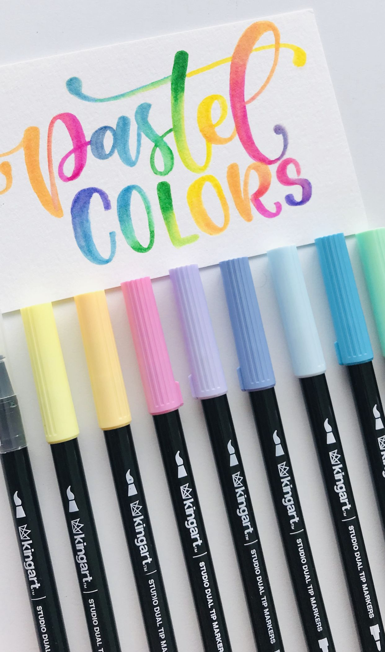 Studio Dual Tip Brush Pens Set Of 10 Pastel Colors Blender