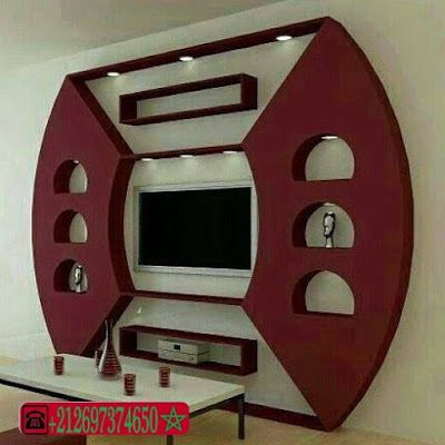 D coration platre moderne pour plasma tv 2016 deco ba13 for Decoration ba13