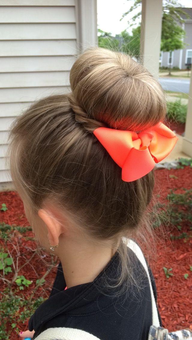Bun with bow | Easy hairstyles, Hair styles, Headbands