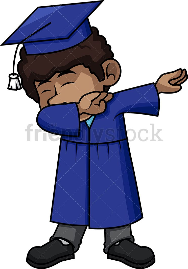 Black Boy Graduate Dabbing Cartoon Vector Clipart | Kids Clipart ...
