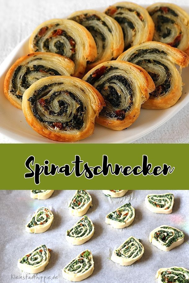 Spinach snails with dried tomatoes - vegan from small town hippie -  Spinach snails: from puff past