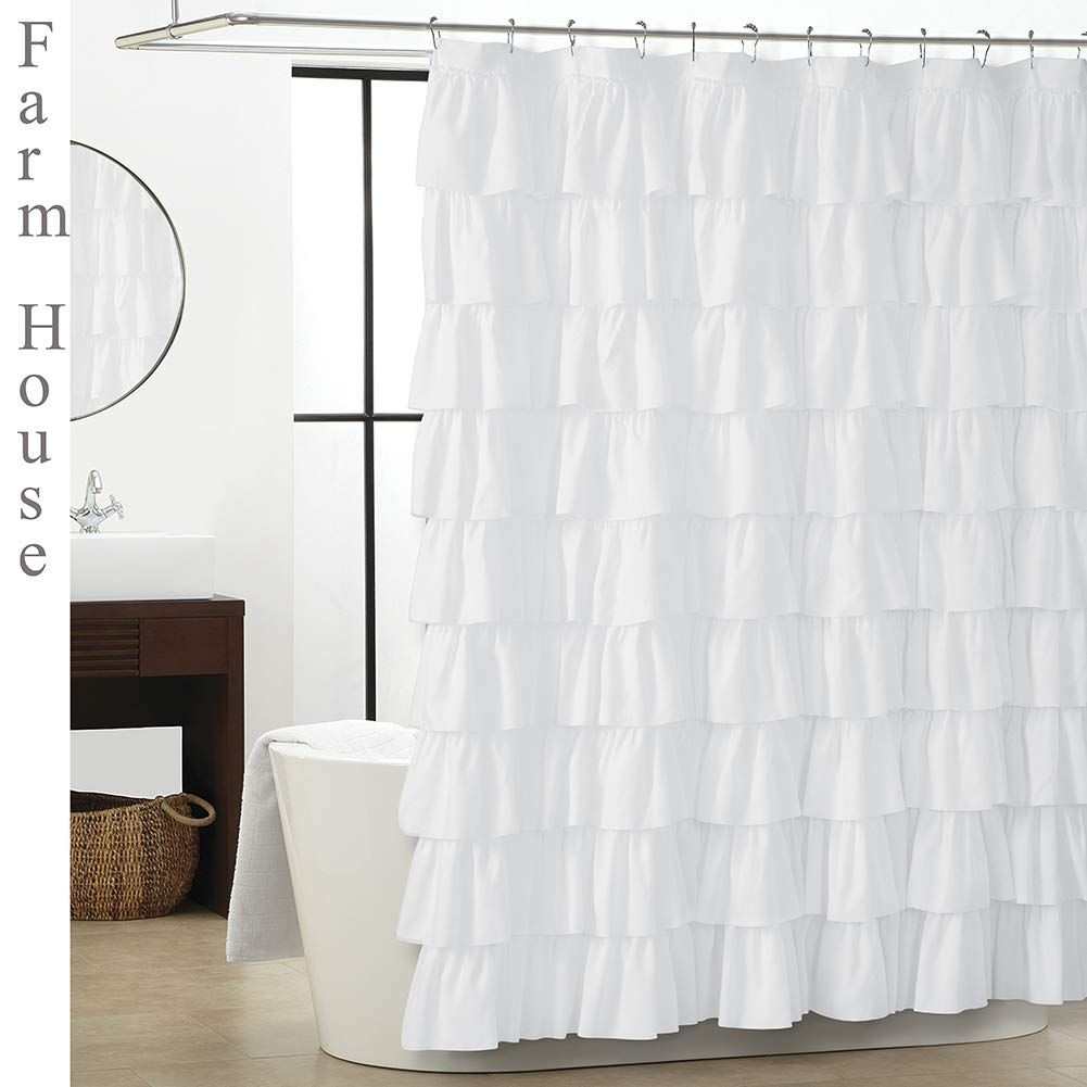 Westweir White Ruffle Shower Curtain Farmhouse Bathroom 72 X 72