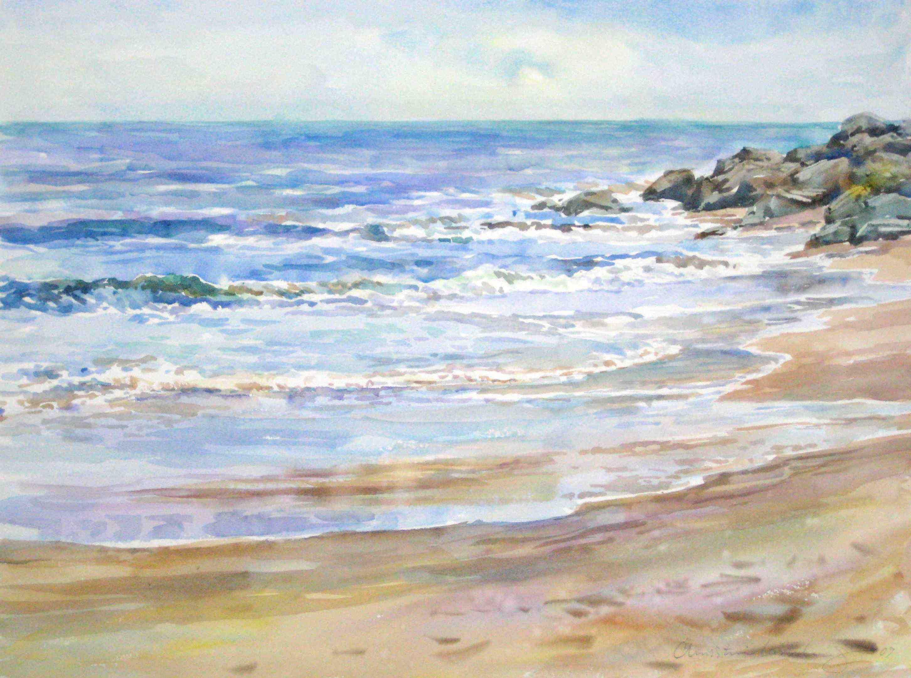 Easy Waves Watercolors Painting Tutorial Youtube Beach