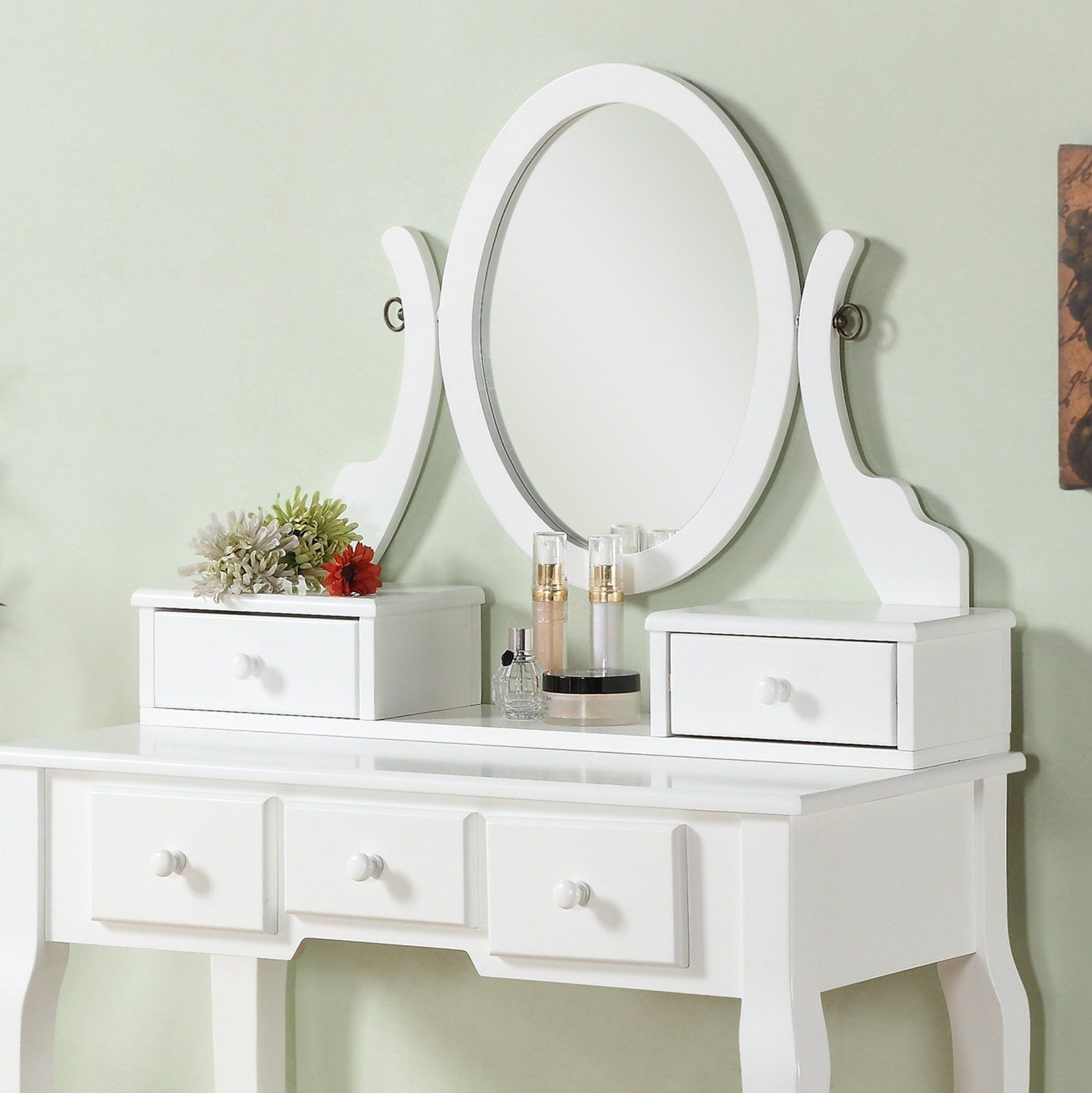 Amazon Roundhill Furniture Ashley Wood Make Up Vanity Table