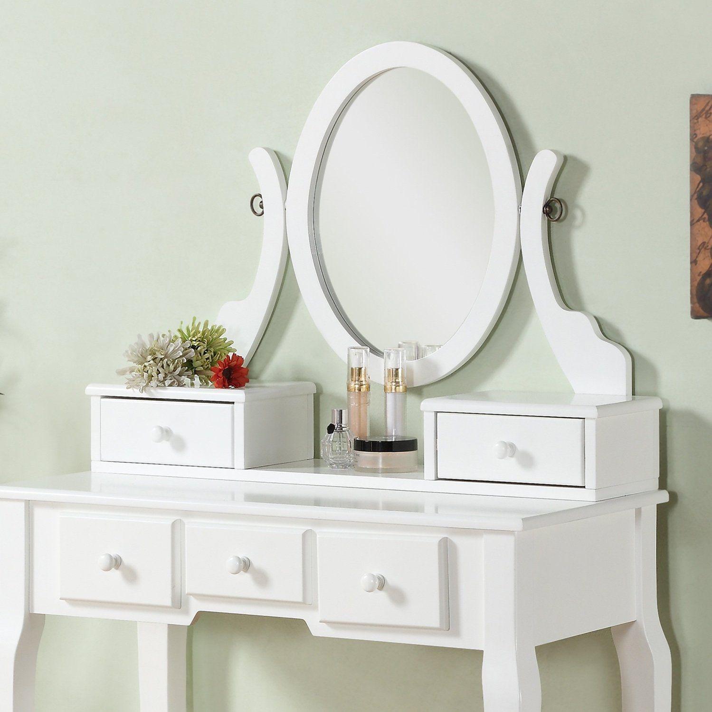 Amazon: Roundhill Furniture Ashley Wood Make-Up Vanity Table And Stool  Set