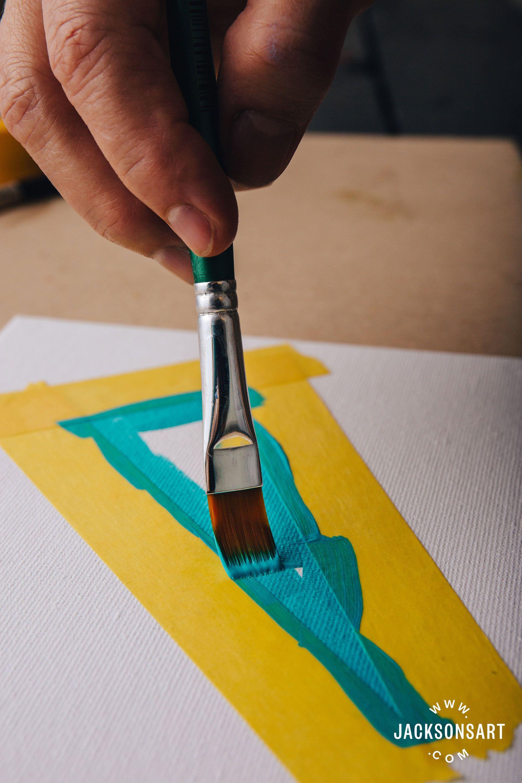Sealing Your Masking Tape For Better Hard Edges In Acrylic Painting Jackson S Art Blog Masking Tape Art Hard Edge Painting Painting Edges