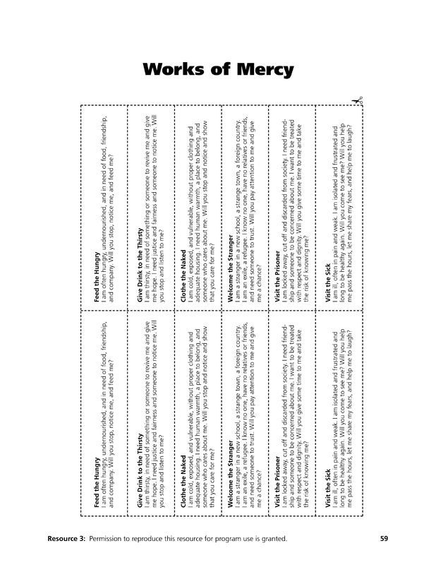 Pictures Corporal Works Of Mercy Worksheet - Studioxcess