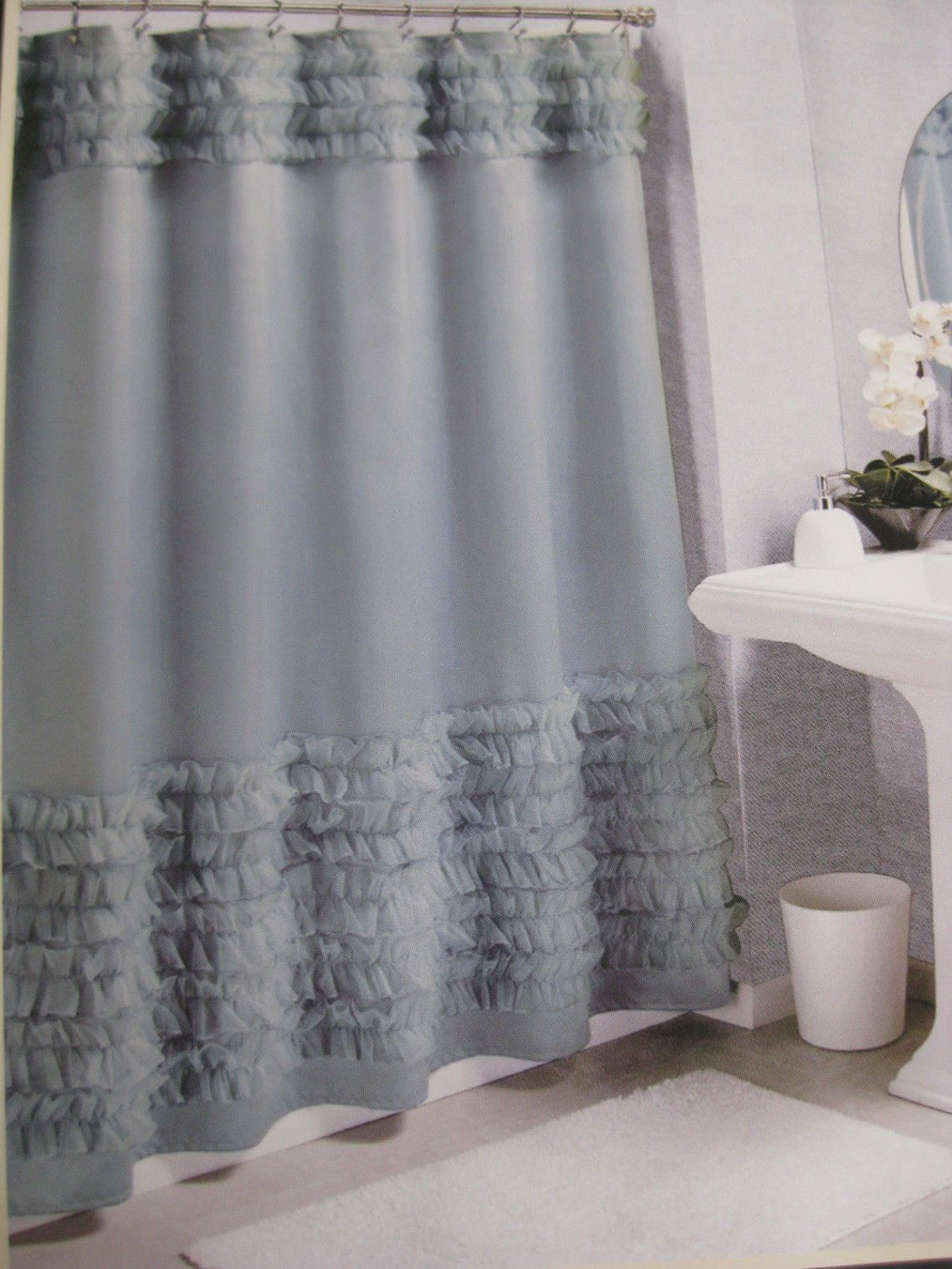 Awesome Gray Bathroom Shower Curtain With Top And Bottom Ruffle