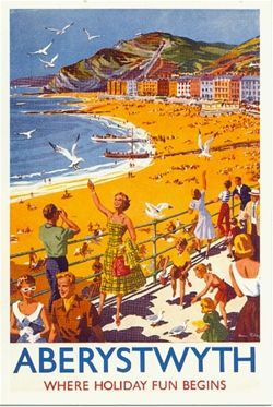 Aberystwyth Wales (U.k) Vintage travel beach poster . www.varaldocosmetica.it/en | the olive oil cosmetics .