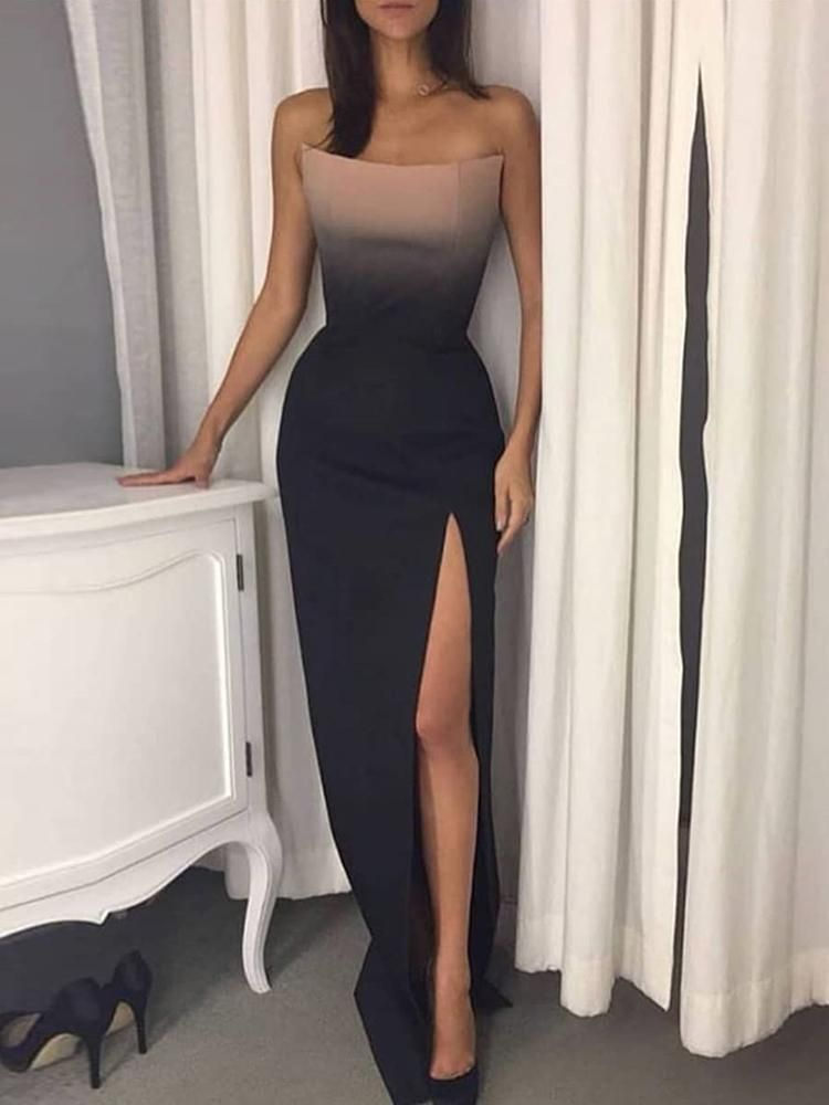 Strapless Gradient Color Thigh Slit Evening Dress  3cfe60fbb2b5