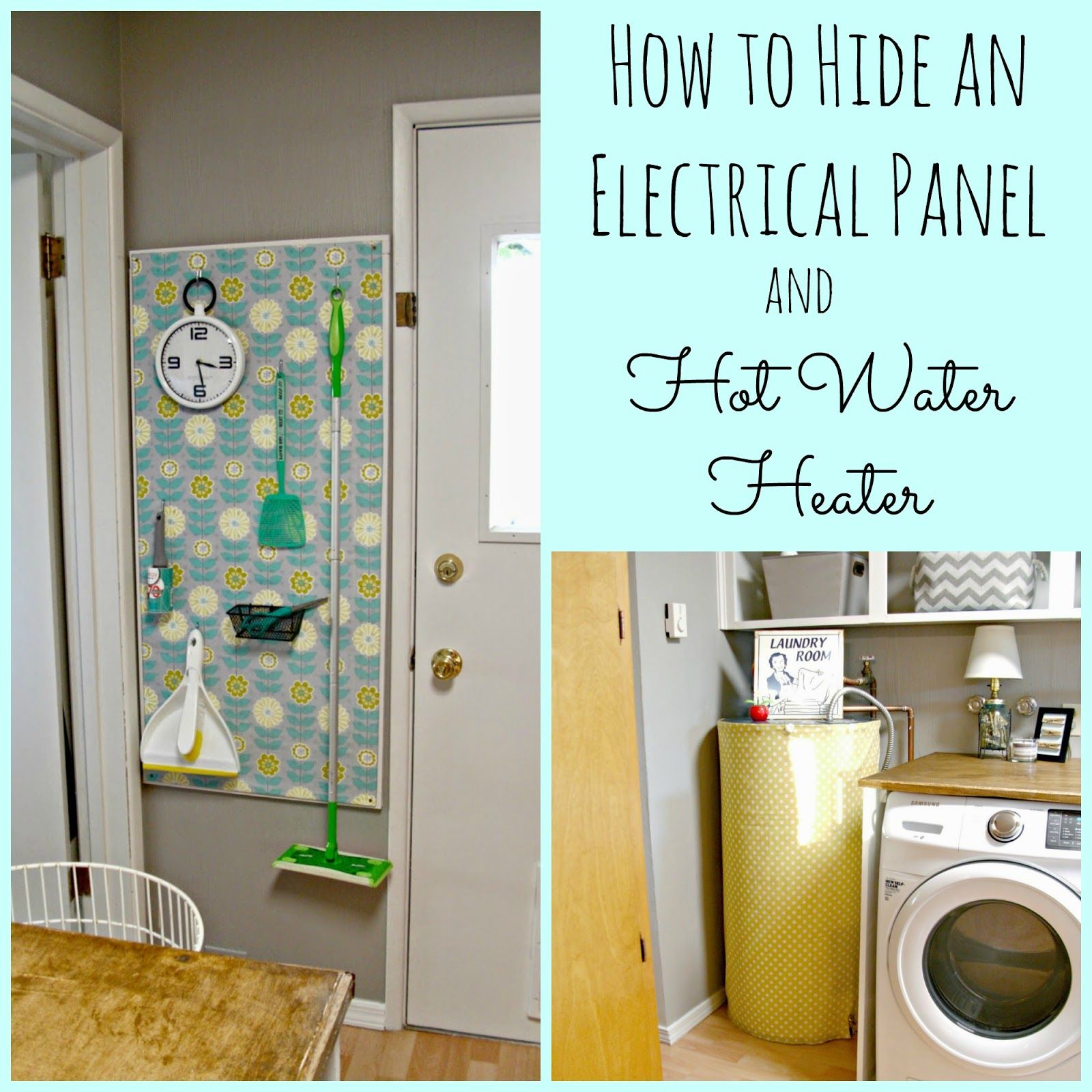 Laundry Room Redo  Hiding the Electrical Panel & Hot Water Heater is part of Laundry room inspiration, Laundry room makeover, Room redo, Hide electrical panel, Electrical panel, Hide water heater - Here is an easy way to hide an ugly electrical panel and hot water heater for very little money!
