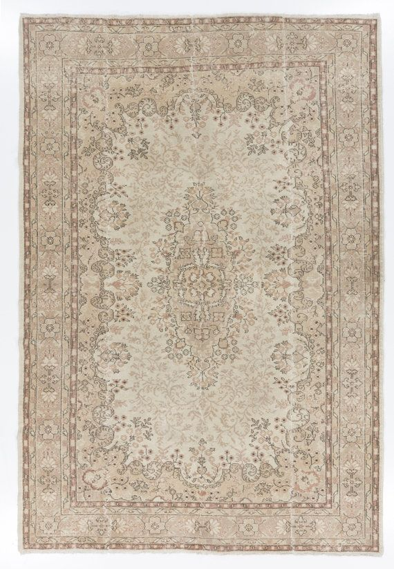 L 73x107 Ft Muted Vintage Oushak Rug Washed Out Neutral Colors Beige  Cream And Taupe Brown Decorative Old Handmade Carpet Y226