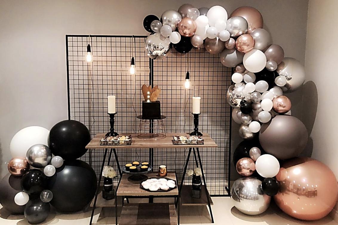 Rose Gold Silver Black White Balloon Garland
